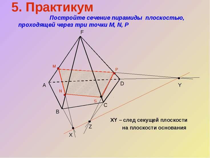5. Практикум Постройте сечение пирамиды плоскостью, проходящей через три точк...