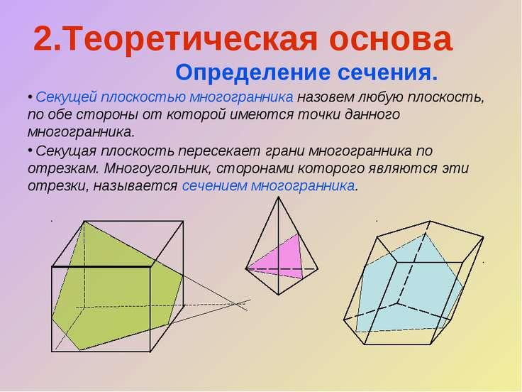 2.Теоретическая основа Определение сечения. Секущей плоскостью многогранника ...