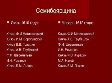 Семибоярщина Июль 1610 года: Князь Ф.И Мстиславский Князь И.М. Воротынский Кн...