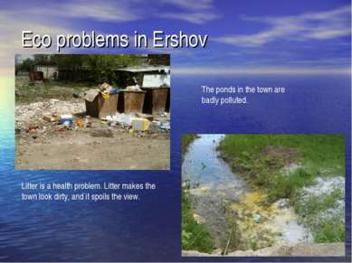 Eco problems in Ershov Litter is a health problem. Litter makes the town look...