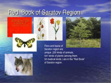 Red Book of Saratov Region Flora and fauna of Saratov region are unique. 235 ...