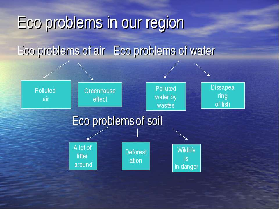 Eco problems in our region Eco problems of air Eco problems of water Polluted...