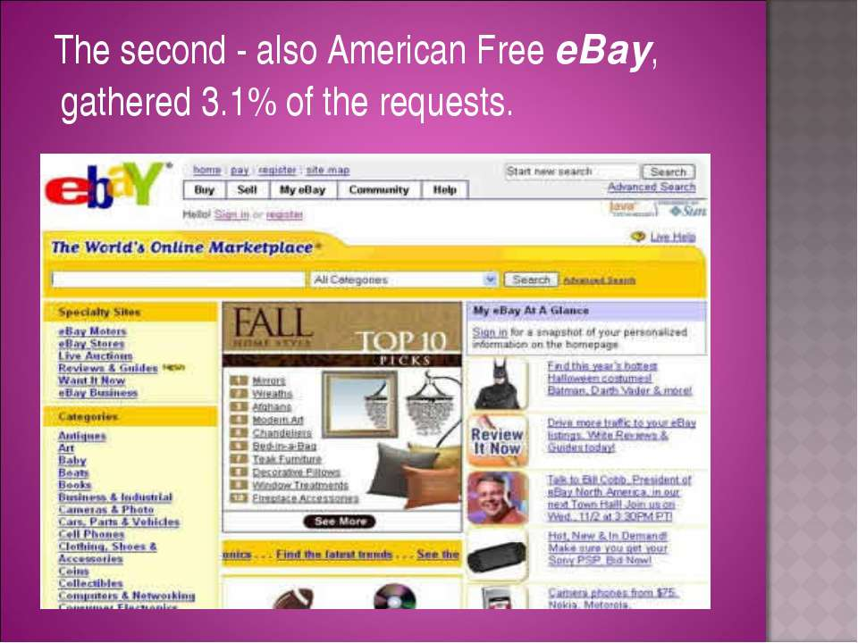 The second - also American Free eBay, gathered 3.1% of the requests.