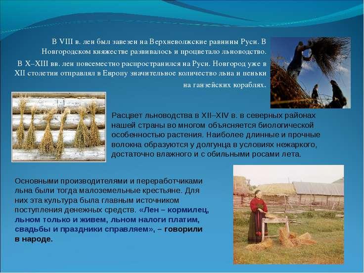 В VIII в. лен был завезен на Верхневолжские равнины Руси. В Новгородском княж...