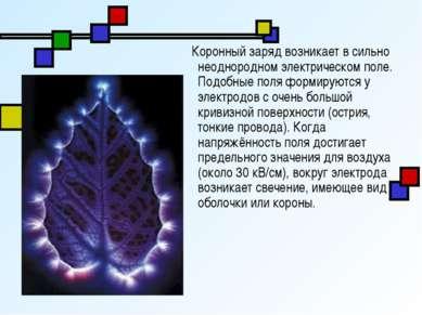 Коронный заряд возникает в сильно неоднородном электрическом поле. Подобные п...