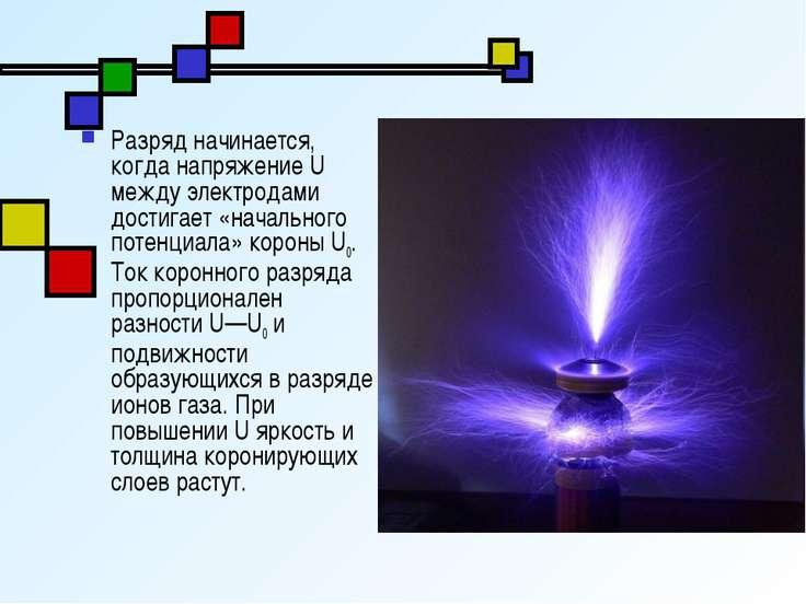 Разряд начинается, когда напряжение U между электродами достигает «начального...
