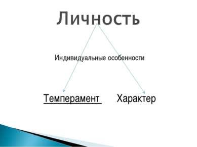 Индивидуальные особенности Темперамент Характер