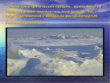 Южнее зоны арктических пустынь , вдоль берегов северных морей протянулась зон...