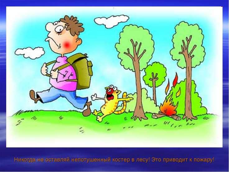 Никогда не оставляй непотушенный костер в лесу! Это приводит к пожару!