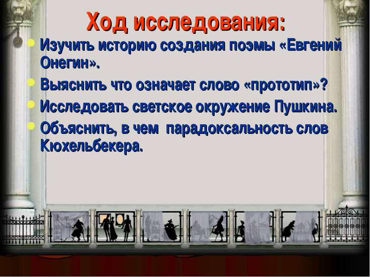 Ход исследования: Изучить историю создания поэмы «Евгений Онегин». Выяснить ч...