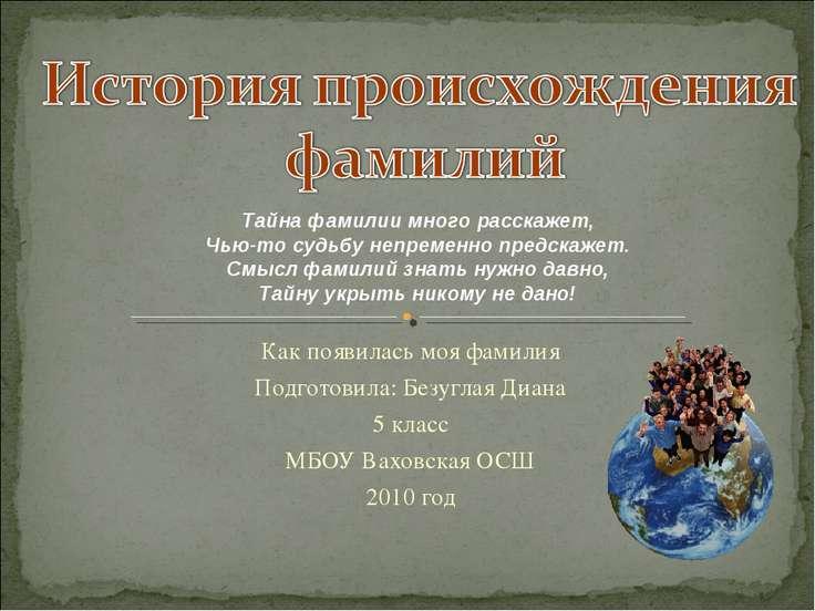 Как появилась моя фамилия Подготовила: Безуглая Диана 5 класс МБОУ Ваховская ...