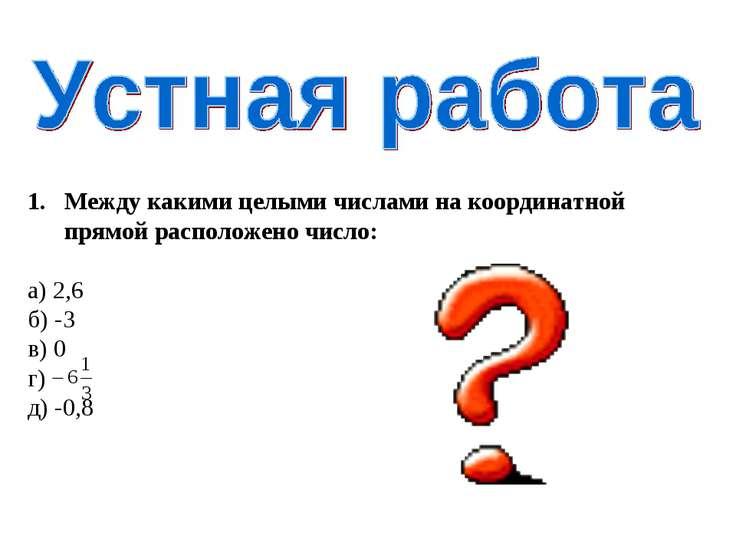 Между какими целыми числами на координатной прямой расположено число: а) 2,6 ...