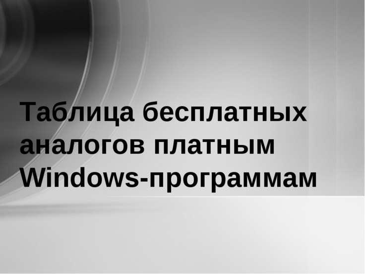 Таблица бесплатных аналогов платным Windows-программам