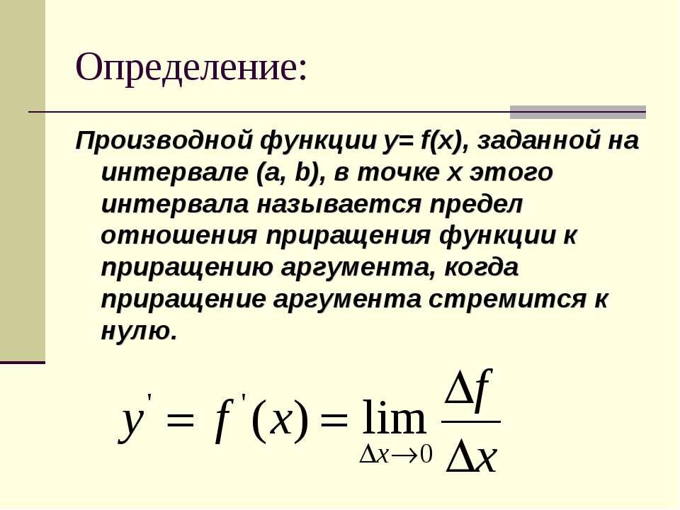 Определение: Производной функции y= f(x), заданной на интервале (a, b), в точ...