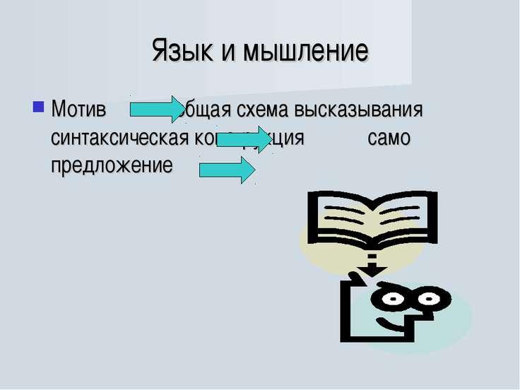 Язык и мышление Мотив общая схема высказывания синтаксическая конструкция сам...