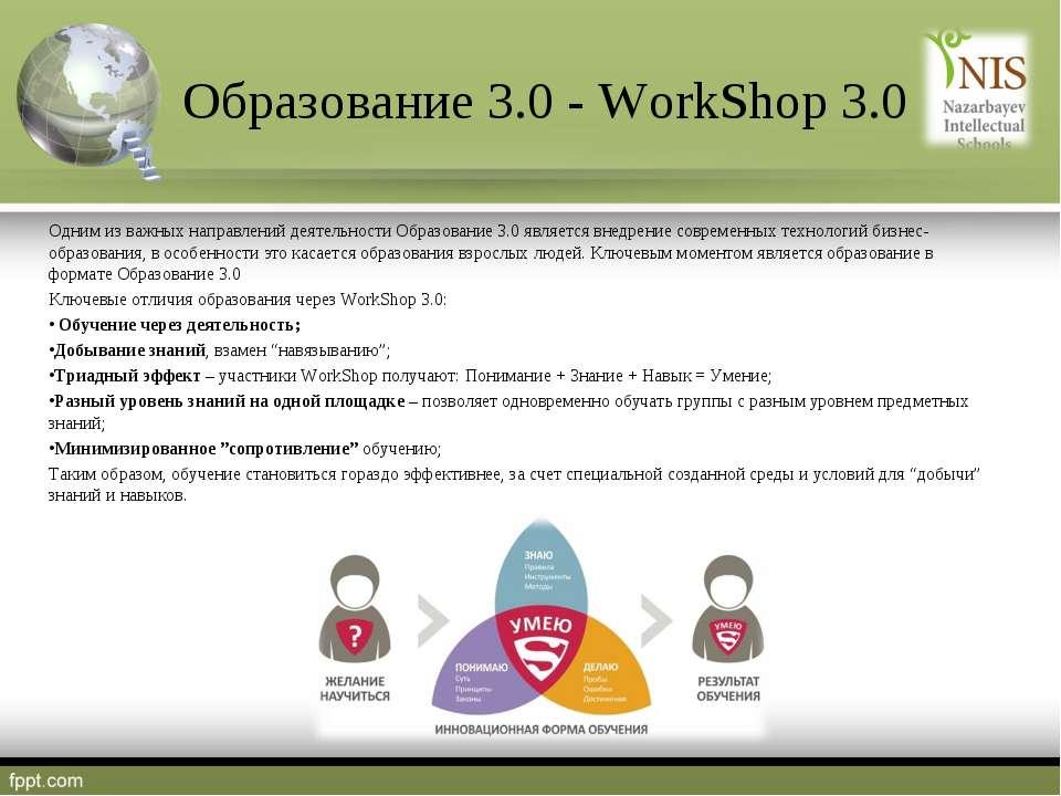 Образование 3.0 - WorkShop 3.0 Одним из важных направлений деятельности Образ...