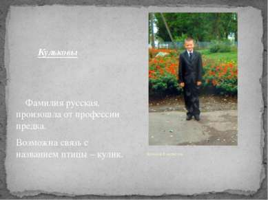 Кульковы Фамилия русская, произошла от профессии предка. Возможна связь с наз...