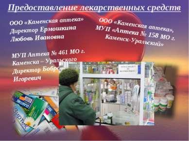ООО «Каменская аптека», МУП «Аптека № 158 МО г. Каменск-Уральский» ООО «Камен...