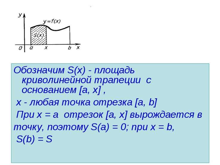 Обозначим S(х) - площадь криволинейной трапеции с основанием [a, х] , х - люб...