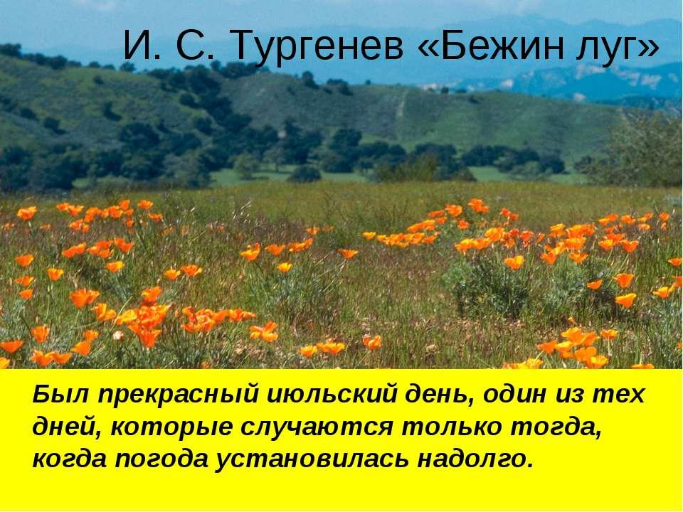 И. С. Тургенев «Бежин луг» Был прекрасный июльский день, один из тех дней, ко...