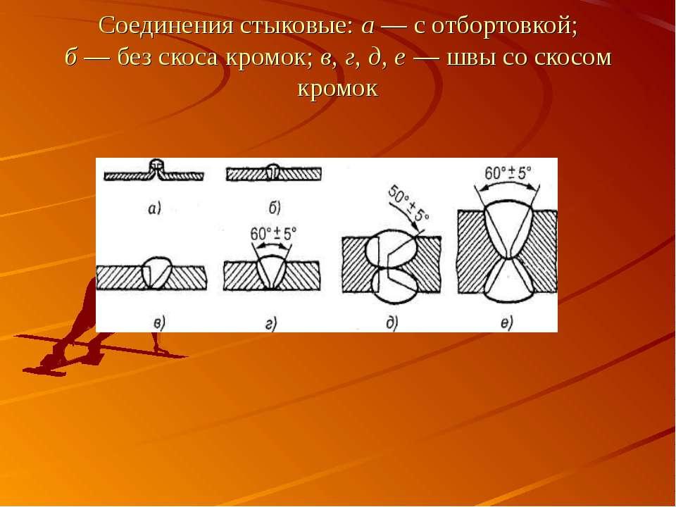 Соединения стыковые: а — с отбортовкой; б — без скоса кромок; в, г, д, е — шв...