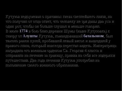 Кутузов недоумевал о причинах гнева светлейшего князя, на что получил от отца...