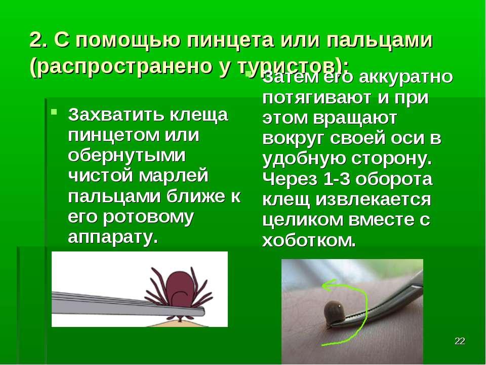 * 2. С помощью пинцета или пальцами (распространено у туристов): Захватить кл...