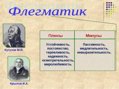Кутузов М.И. Крылов И.А. Плюсы Устойчивость, постоянство, терпеливость, надеж...