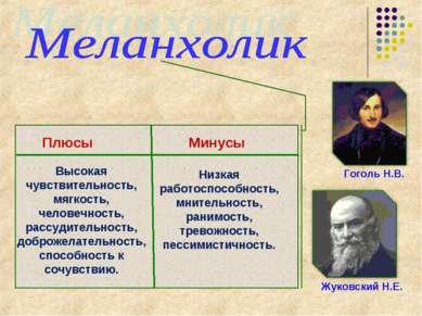 Кутузов М.И. Гоголь Н.В. Жуковский Н.Е. Плюсы Минусы Высокая чувствительность...