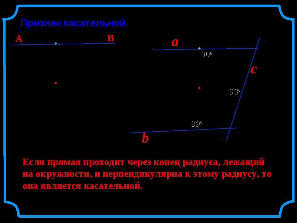 Признак касательной. О r Если прямая проходит через конец радиуса, лежащий на...