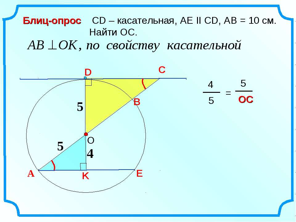 C СD – касательная, AE II CD, AB = 10 см. Найти ОС. Блиц-опрос 4 А D B K E 5 5