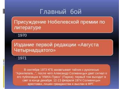 """Главный бой В сентябре 1973 КГБ захватывает тайник с рукописью """"Архипелага......"""