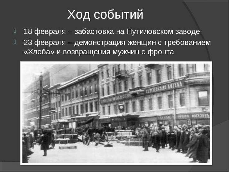 Ход событий 18 февраля – забастовка на Путиловском заводе 23 февраля – демонс...