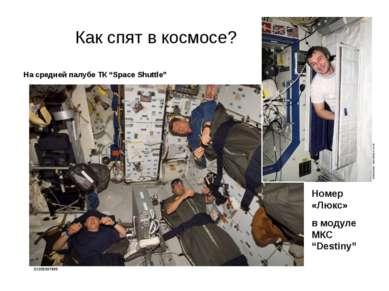 "Как спят в космосе? На средней палубе ТК ""Space Shuttle"" Номер «Люкс» в модул..."
