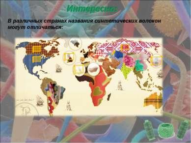 В различных странах названия синтетических волокон могут отличаться: