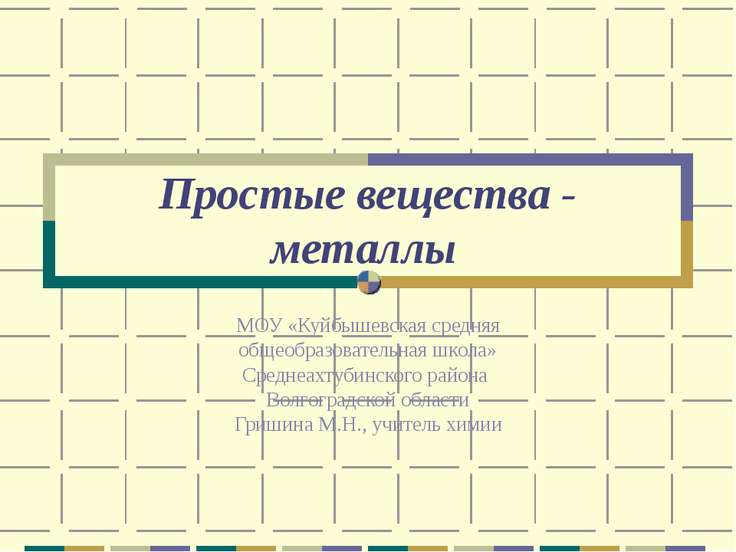 Простые вещества - металлы МОУ «Куйбышевская средняя общеобразовательная школ...