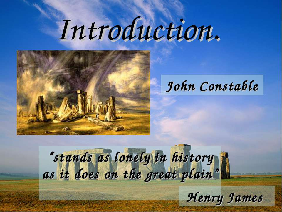 "Introduction. ""stands as lonely in history as it does on the great plain"" Hen..."