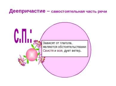 Деепричастие – самостоятельная часть речи Зависят от глагола, являются обстоя...