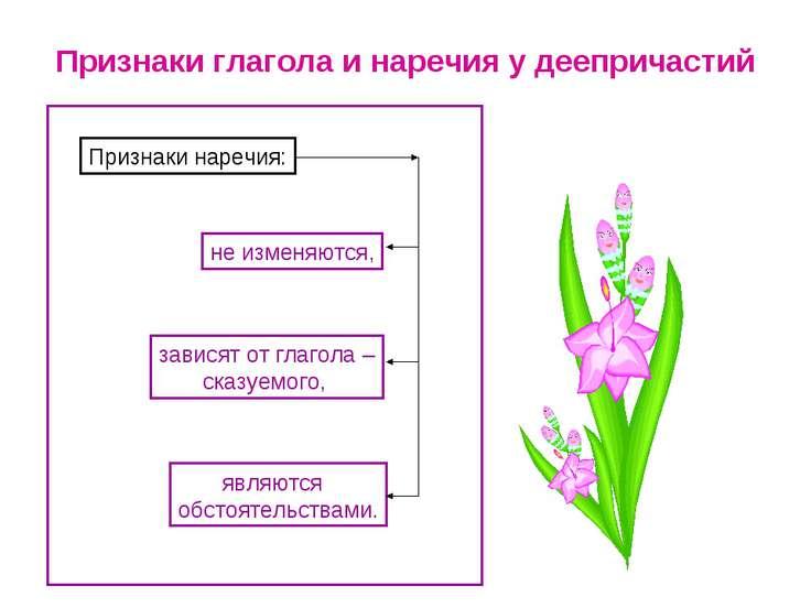 Признаки глагола и наречия у деепричастий Признаки наречия: не изменяются, за...