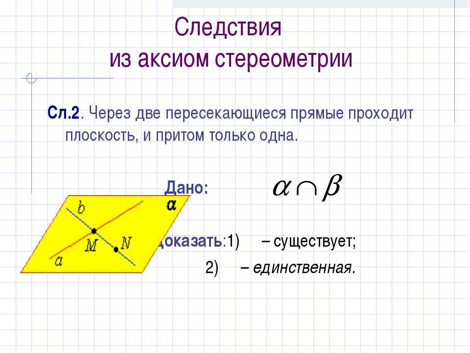 Следствия из аксиом стереометрии Сл.2. Через две пересекающиеся прямые проход...