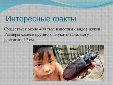 Интересные факты Существует около 400 тыс. известных видов жуков. Размеры сам...