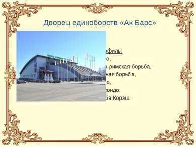 Дворец единоборств «Ак Барс» Профиль: Дзюдо, Греко-римская борьба, Вольная бо...