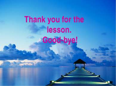 Thank you for the lesson. Good-bye!