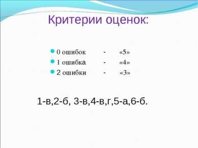 Критерии оценок: 0 ошибок - «5» 1 ошибка - «4» 2 ошибки - «3» 1-в,2-б, 3-в,4-...