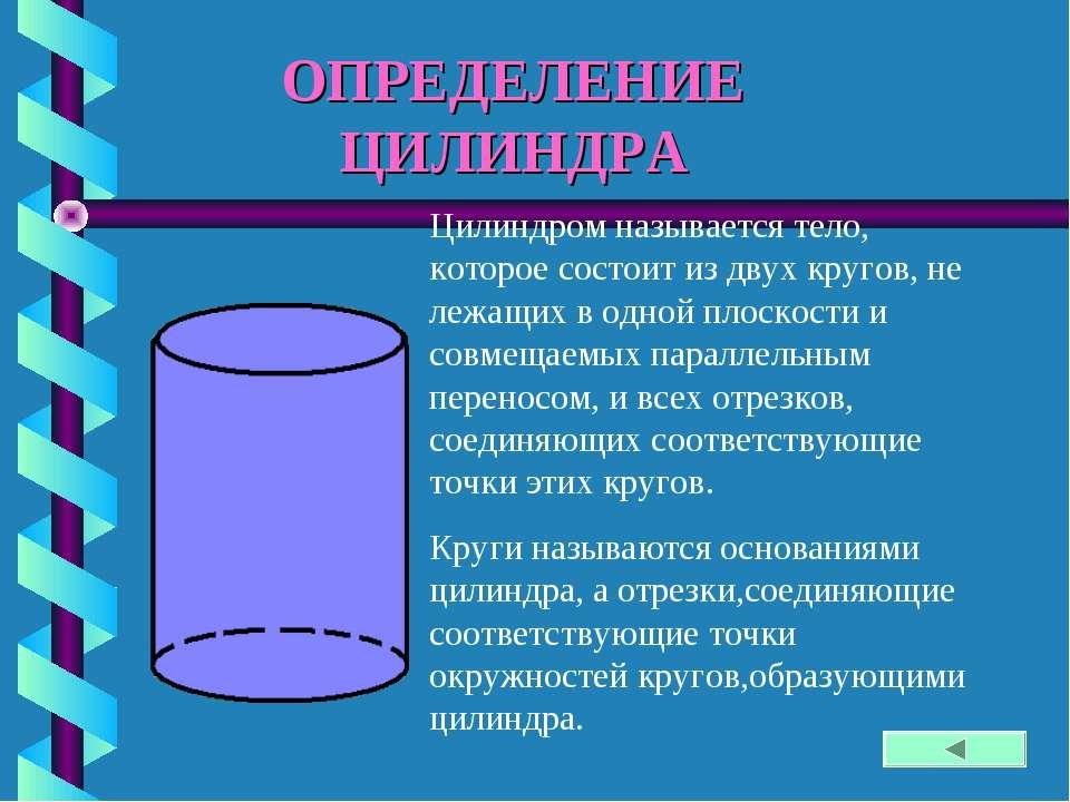 ОПРЕДЕЛЕНИЕ ЦИЛИНДРА Цилиндром называется тело, которое состоит из двух круго...