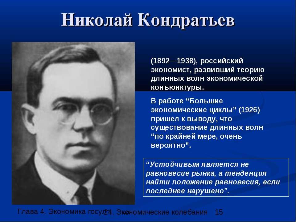 Николай Кондратьев (1892—1938), российский экономист, развивший теорию длинны...
