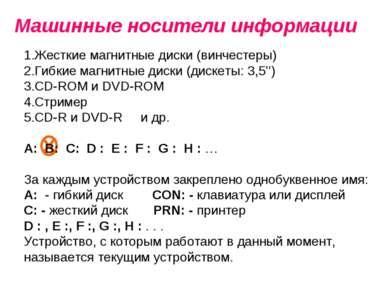 Машинные носители информации Жесткие магнитные диски (винчестеры) Гибкие магн...