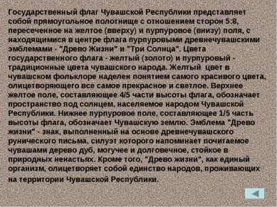 Государственный флаг Чувашской Республики представляет собой прямоугольное по...