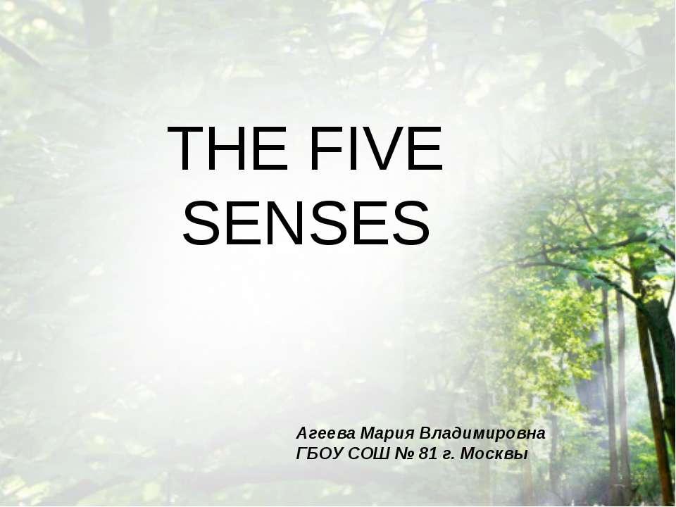 THE FIVE SENSES Агеева Мария Владимировна ГБОУ СОШ № 81 г. Москвы