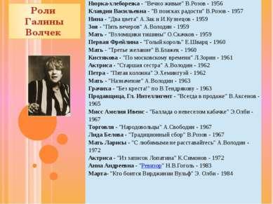 """Роли Галины Волчек Нюрка-хлеборезка- """"Вечно живые"""" В.Розов - 1956 Клавдия Вас..."""